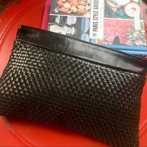 Vintage black woven clutch handbag, made in Italy